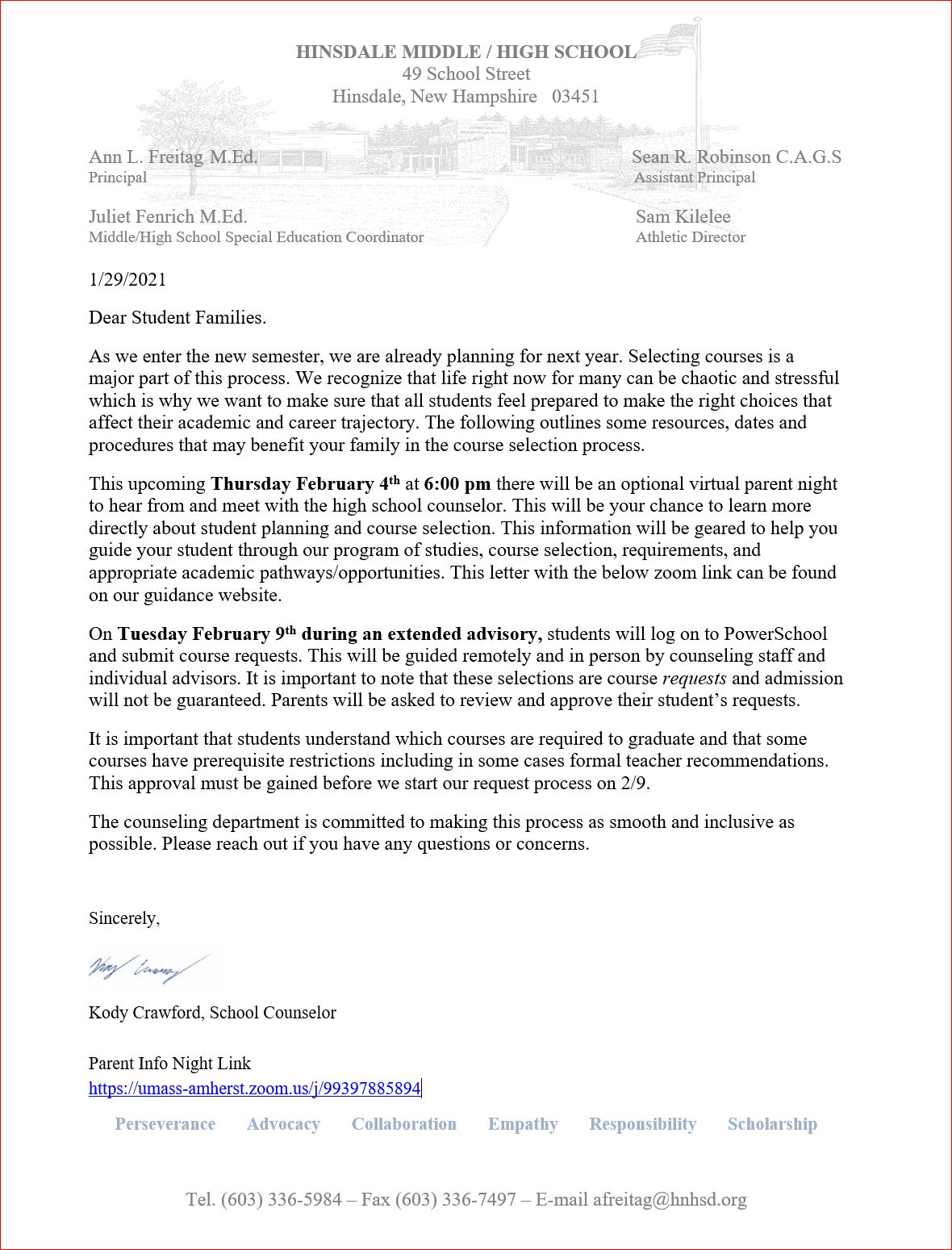 Photo of course selection letter